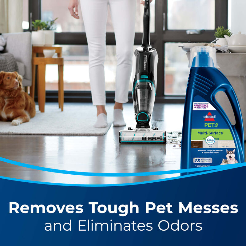 cleaning hard floor Text: Removes Tough Pet Messes and Eliminates Odors