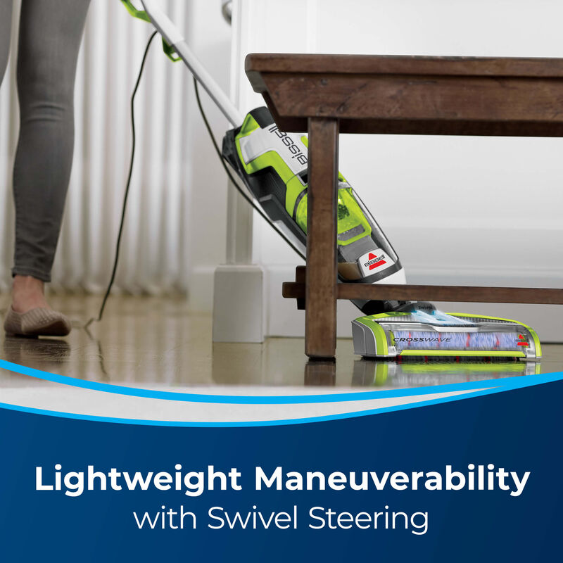 Vac & Wash under table Text: Lightweight with Swivel Steering