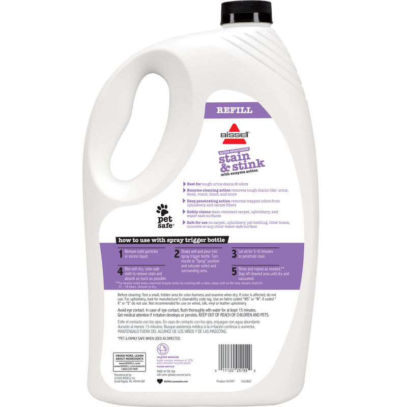 BISSELL Pet Stain & Stink Remover with Enzyme Action Refill 2997 Back