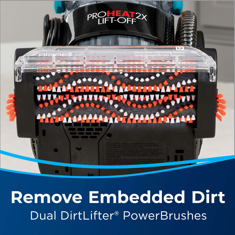 ProHeat 2X Lift-Off Bottom View. Text: Remove Embedded Dirt. Dual DirtFilter PowerBrushes