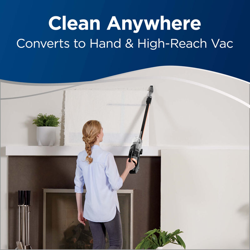 Specialized tools in-use Text: Clean Anywhere Converts to Hand and High-Reach Vac