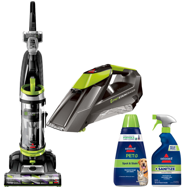 BISSELL CleanView Vacuum Cleaner and BISSELL Pet Stain Eraser Portable and Formula Bundle