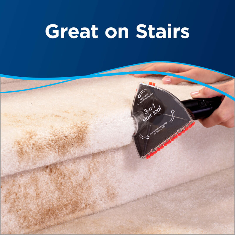 cleaning the stairs with special tool Text: great on stairs