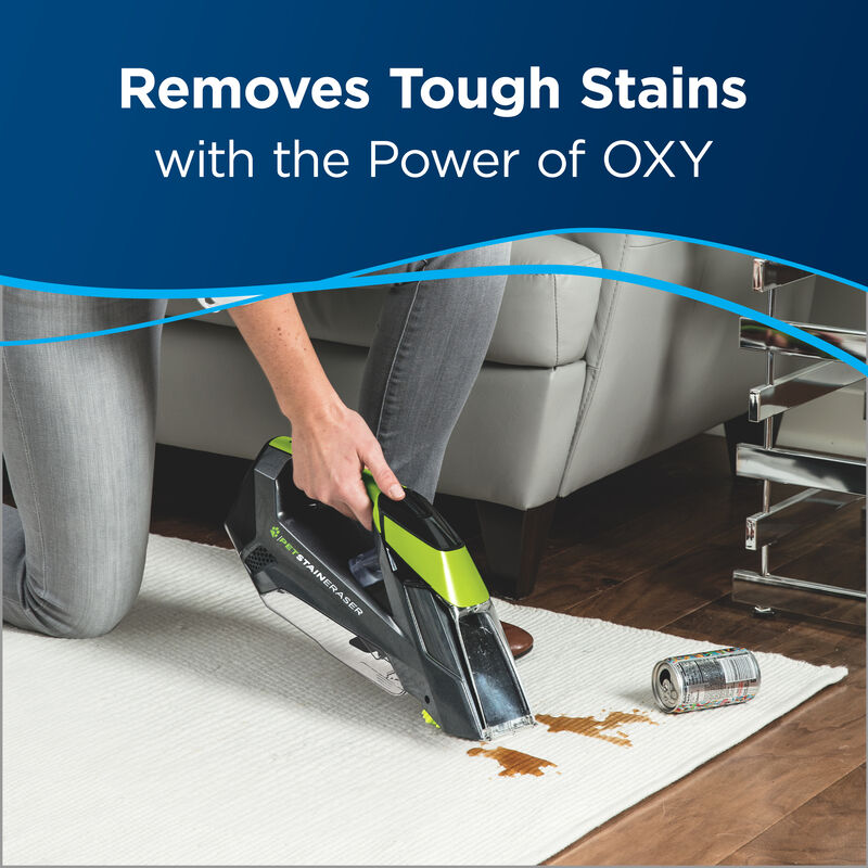Cleaning Carpet Paw Prints Text: Removes Tough Stains with the Power of OXY.