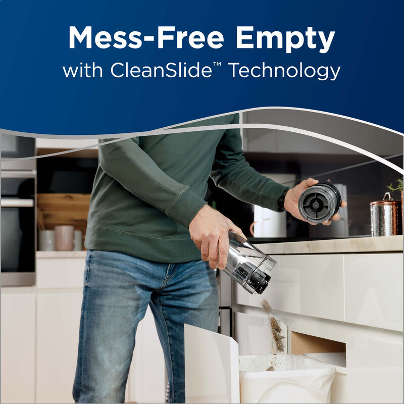 Emptying the tank: Mess-Free Empty with CleanSlide Technology