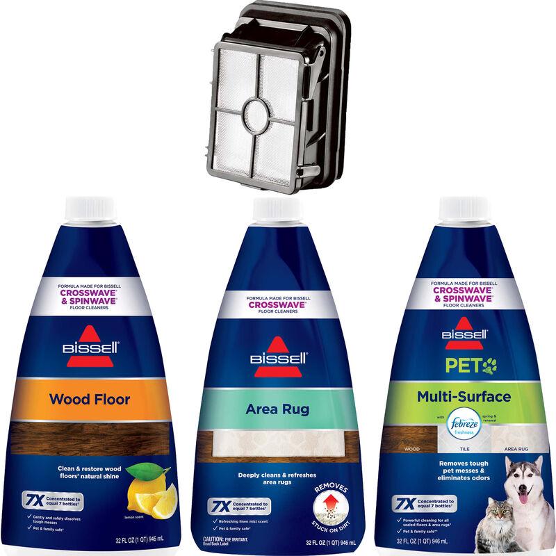 BISSELL CrossWave Wet Dry Vac BISSELL SpinWave SpinMop Formula Bundle B0098