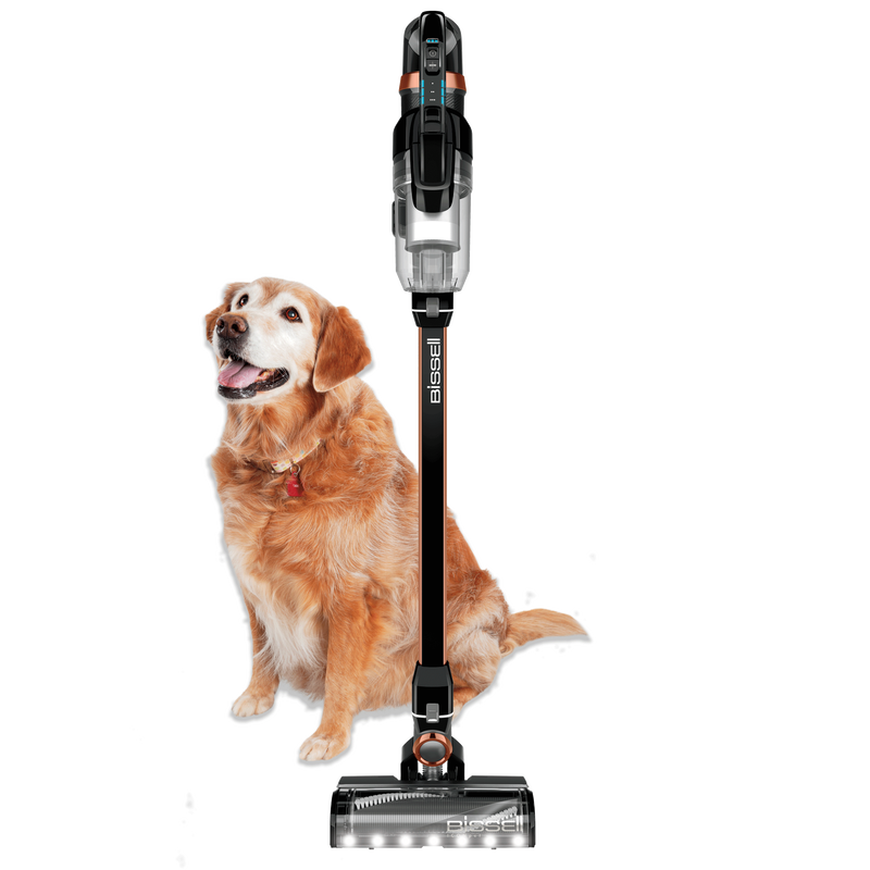 ICONpet™ Pro Cordless Vacuum front view with dog