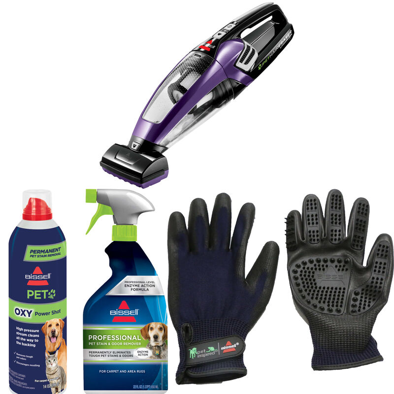 BISSELL Pet Hair Eraser Hand Vac Gloves Spot and Stain Remover Bundle