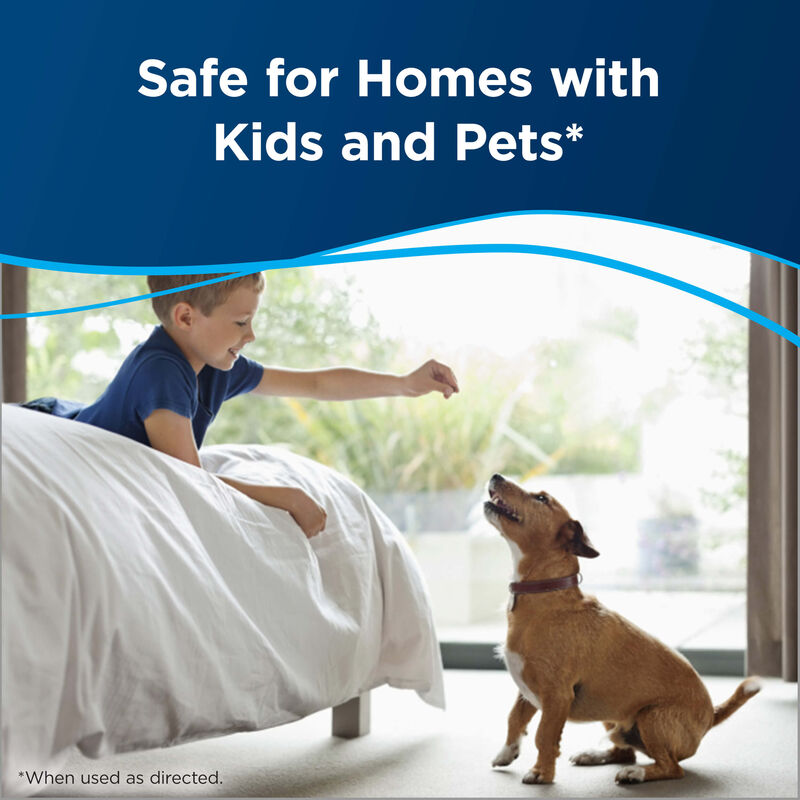 Kid playing with dog. Text: Safe for homes with kids and pets