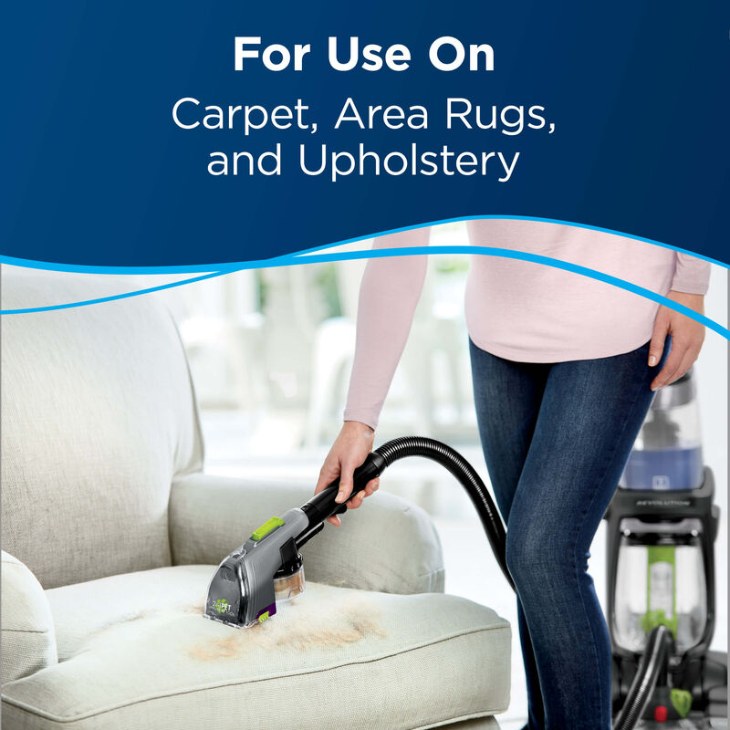 Cleaning surface. Text: For use on carpet, area rugs, and Upholstery