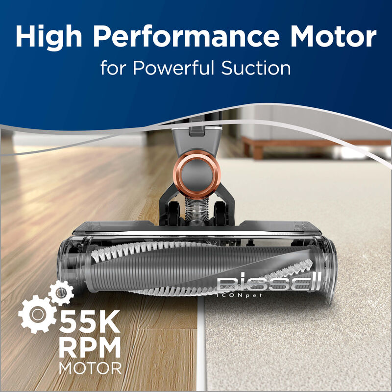 cleaning hard floor and carpet Text: High Performance Motor for Powerful Suction