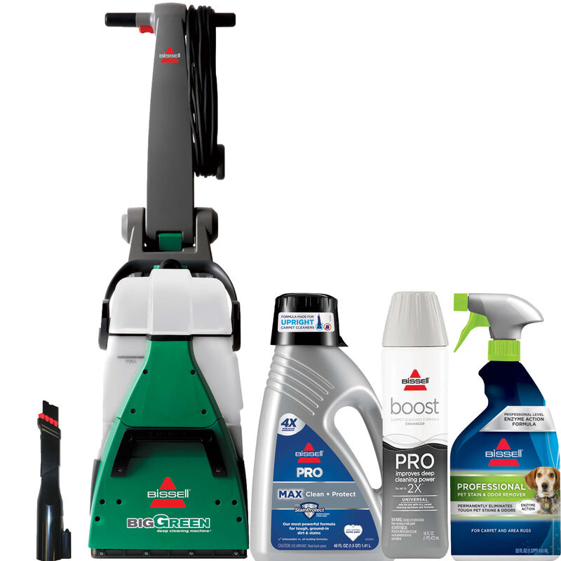 Big Green® Carpet Cleaning Professional Package vacuum cleaner special tool , three bottles front view