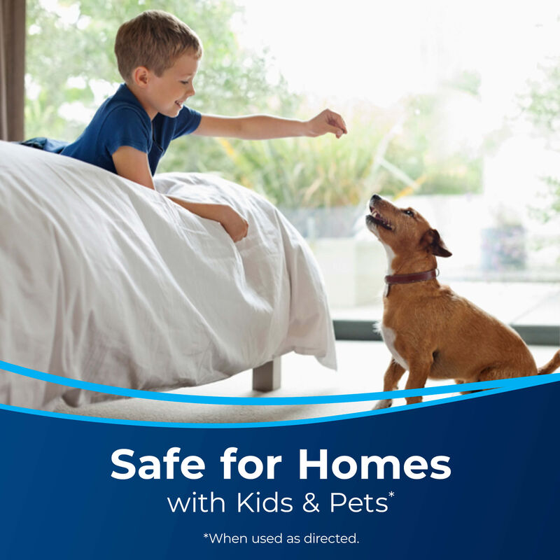Kid with dog Text: Safe for Homes with Kids and Pets