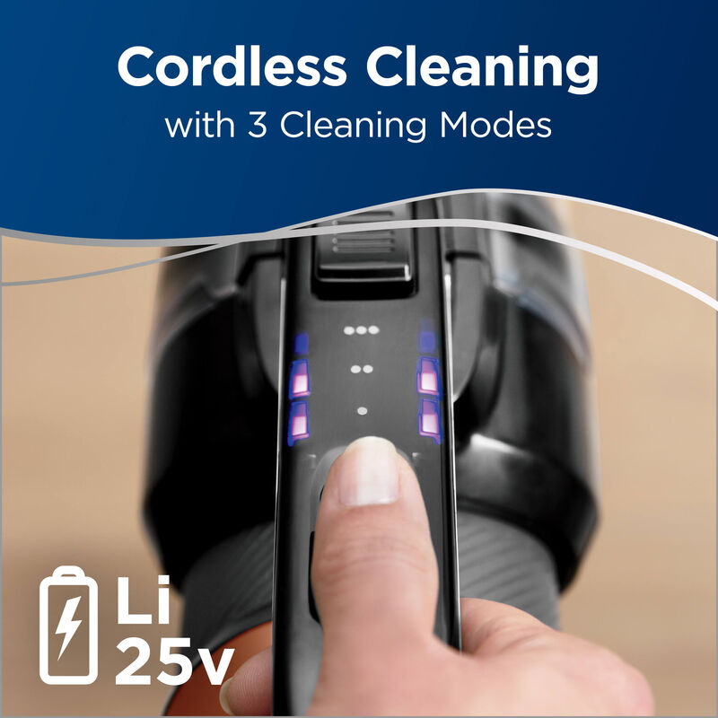 Control panel Text: Cordless Cleaning with 3 Cleaning Modes