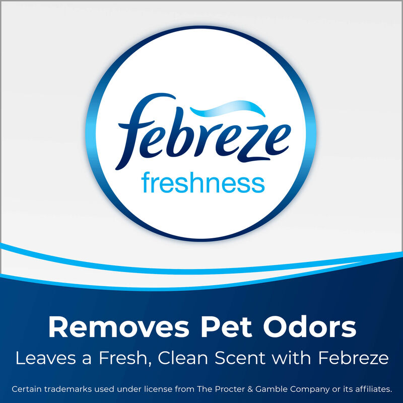 Febreze logo Text: Removes Pet Odors Leaves a Fresh, Clean Scent with Febreze