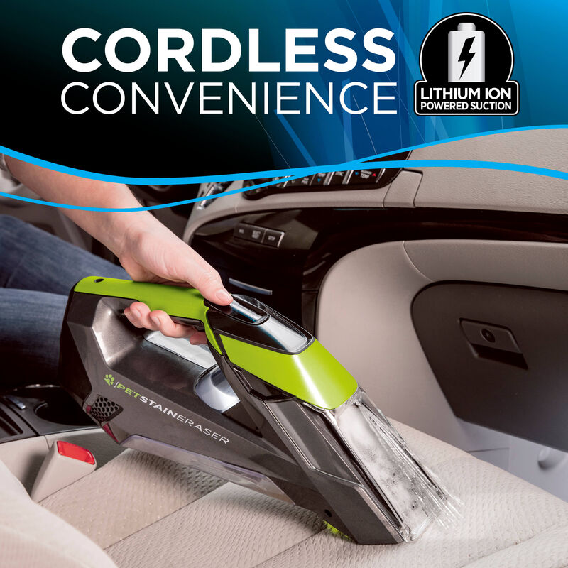 Pet Stain Eraser Cleaning Car Seat Text: Cordless Convenience