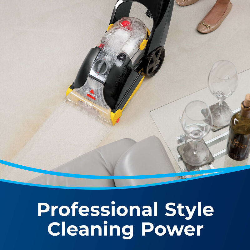 Woman Cleaning Carpet With ProHeat Text: Professional Style Cleaning Power.