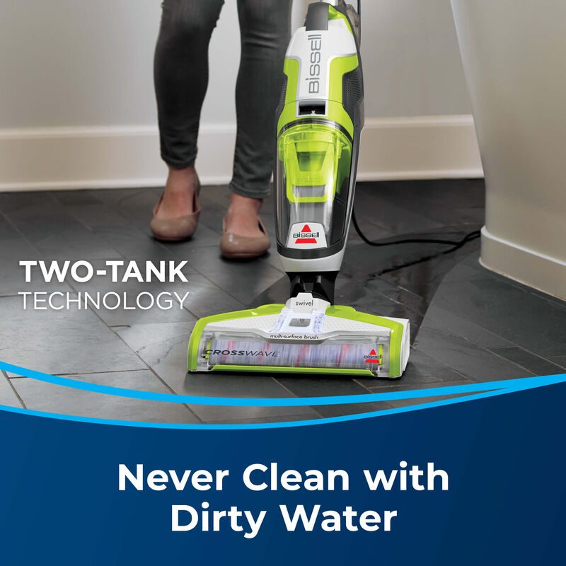 Vac & Wash hard floor Text: Two-tank technology Never Clean with Dirty Water