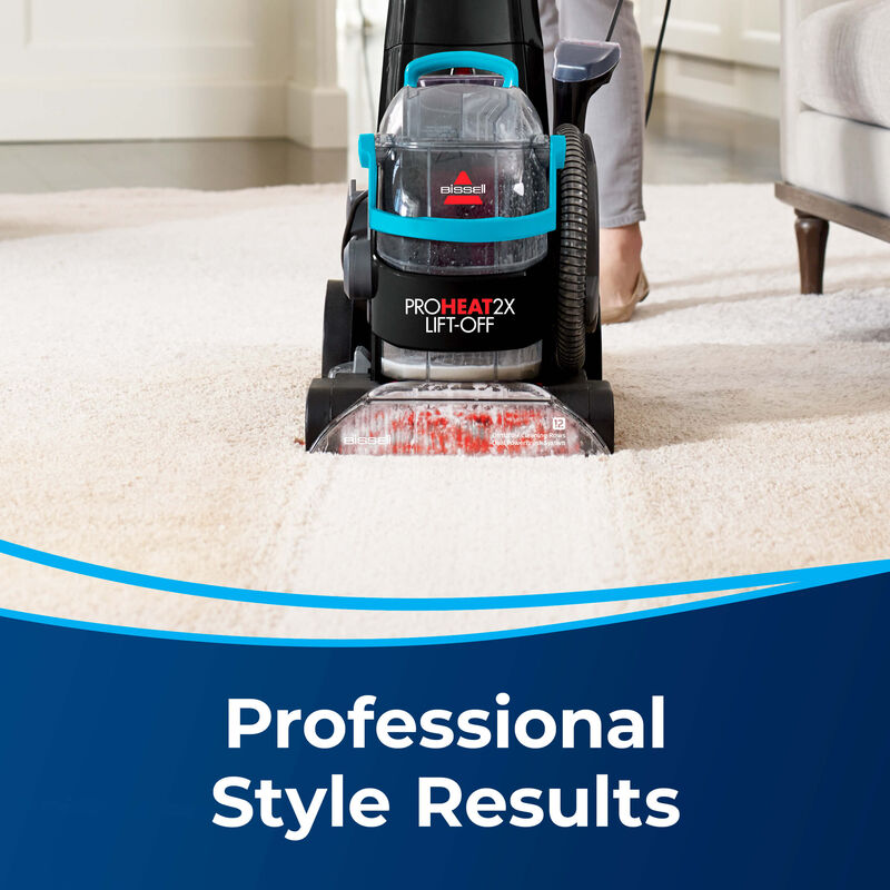 Woman Cleaning Carpet. Text: Professional Style Results