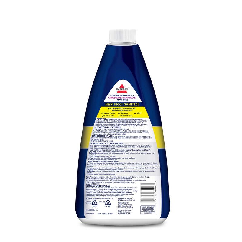 BISSELL Hard Floor Sanitize Formula CrossWave and SpinWave 2504 Back