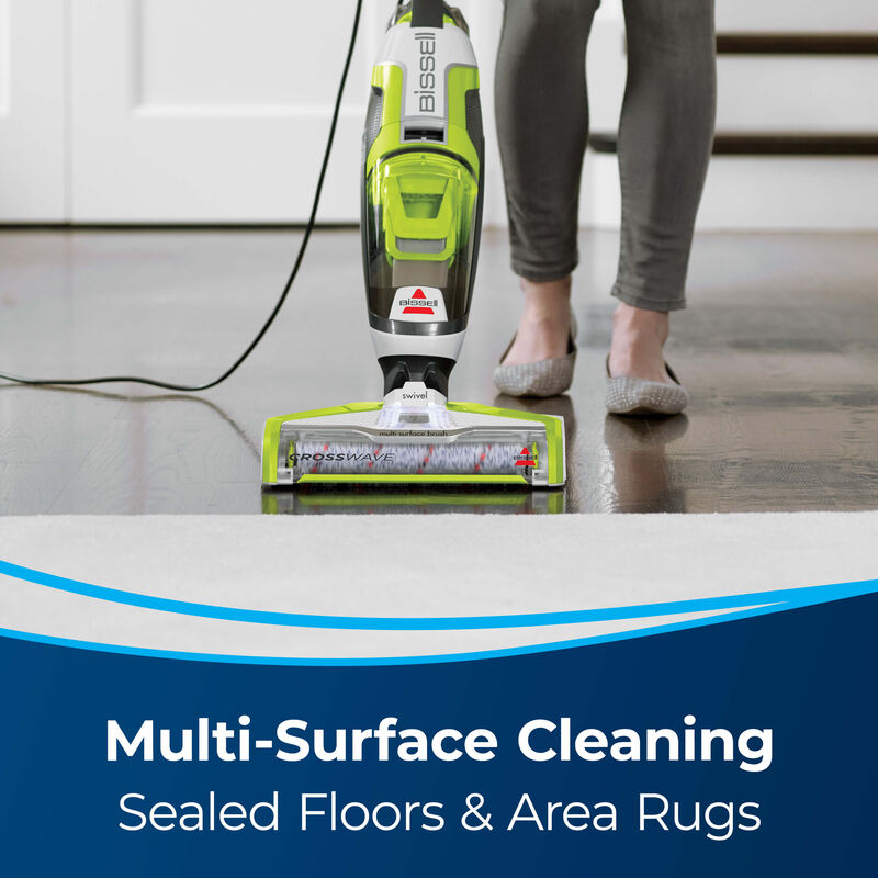 Vac & Wash hard floor Text: Multi-Surface Cleaning Sealed Floors and Area Rugs