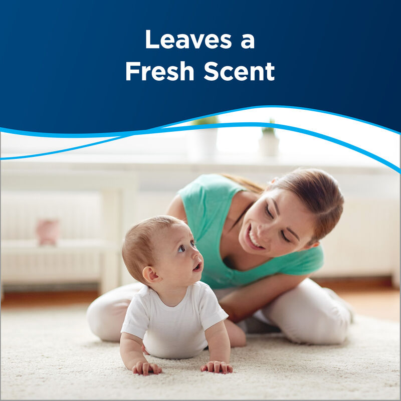 Woman with child Text: Leaves a Fresh Scent