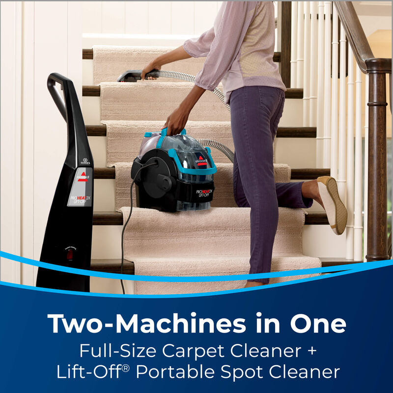 Woman Cleaning Carpet. Text: Two-Machines In One - Full-Size Carpet Cleaner + Lift-Off Portable Spot Cleaner