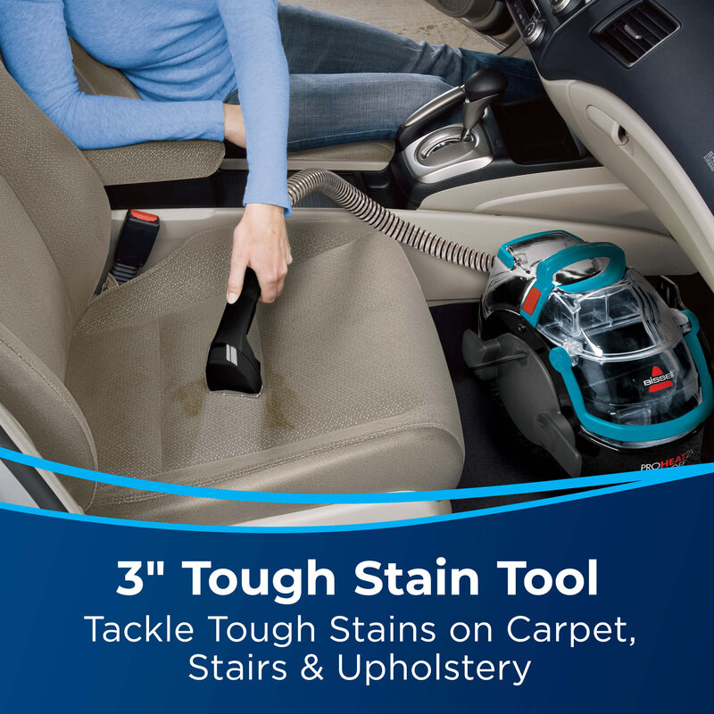 """3"""" Tough Stain Tool cleaning dust-filled carpet. Text: Remove Tough Stains on Carpet, Stairs and Upholstery"""