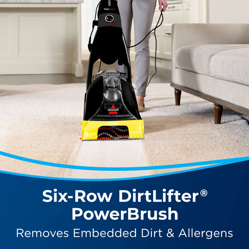 Woman Cleaning Carpet with ProHeat Text: Six-Row DirtLifter PowerBrush. Removes Embedded Dirt & Allergens.