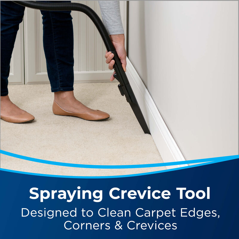 Spraying Crevice Tool. Text: Designed to Clean Carpet Edges, Corners and Crevices