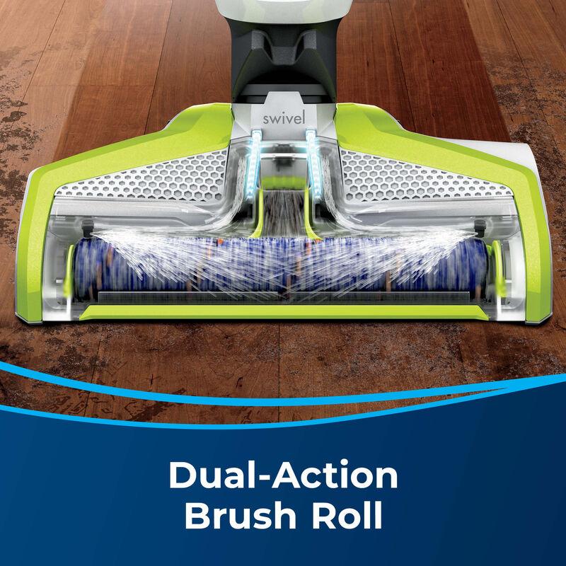 Vacuum & Wash wood floor Text: Dual Action Brush Roll