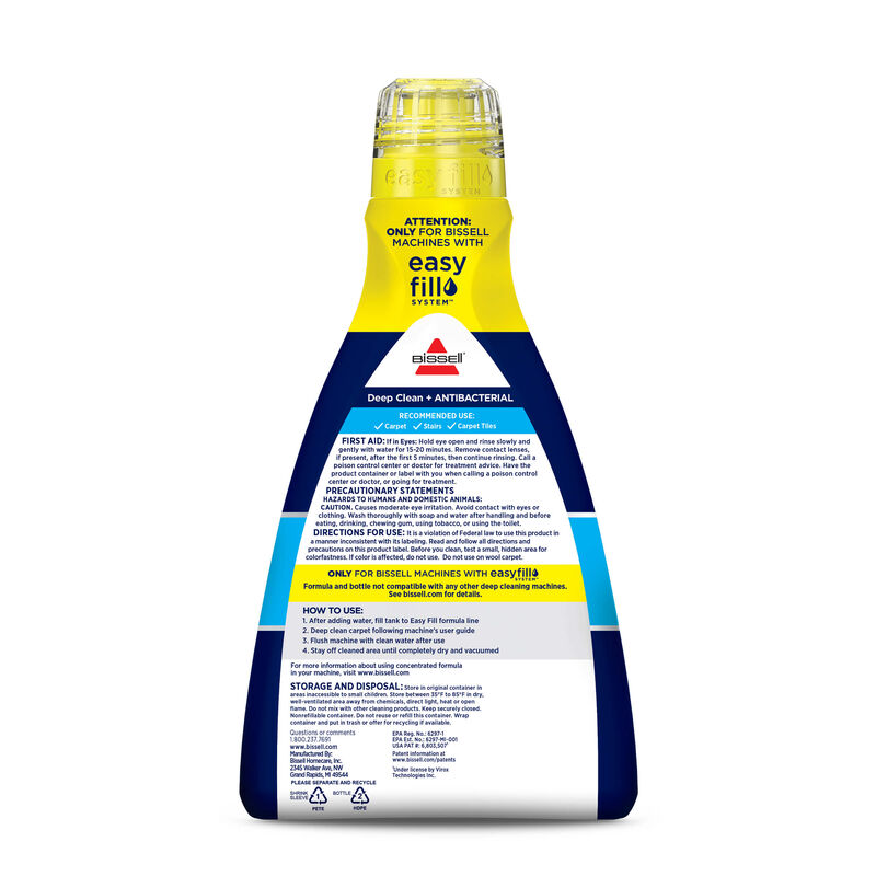 BISSELL Deep Clean + Antibacterial Formula Carpet Cleaning 1568 Back